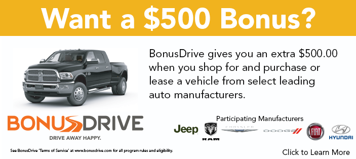 Get an extra $500 when you shop for and purchase or lease an eligible vehicle
