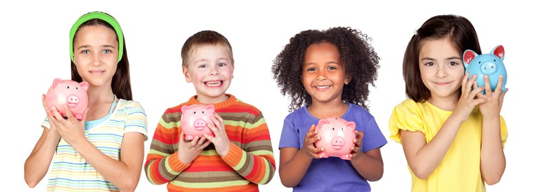 Four children holding piggy banks